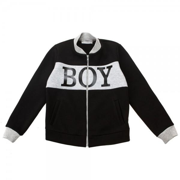 Бомбер из футера для мальчика BOY Kids Couture 17-236 черный