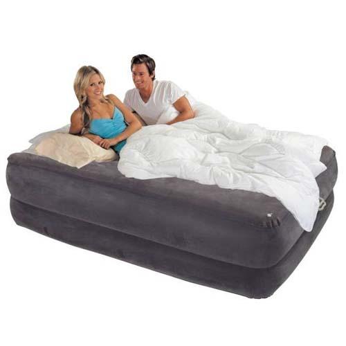 Матрац-кровать для отдыха- FOAM TOP BED (синий, флок. покрытие, встр. электронасос, 203х152х56)