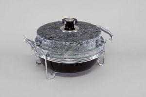 Круглый мармит с контейнером из мрамора 22х10 см со стальной конструкцией