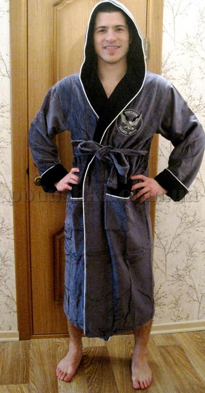Халат мужской длинный с капюшоном Nusa NS-7080 new XXL  Nusa