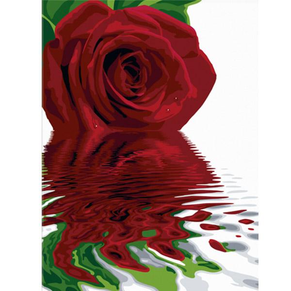 Художественный творческий набор - Алая роза на холсте