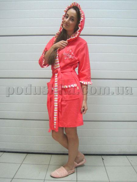 Халат женский короткий с капюшоном Nusa NS-827