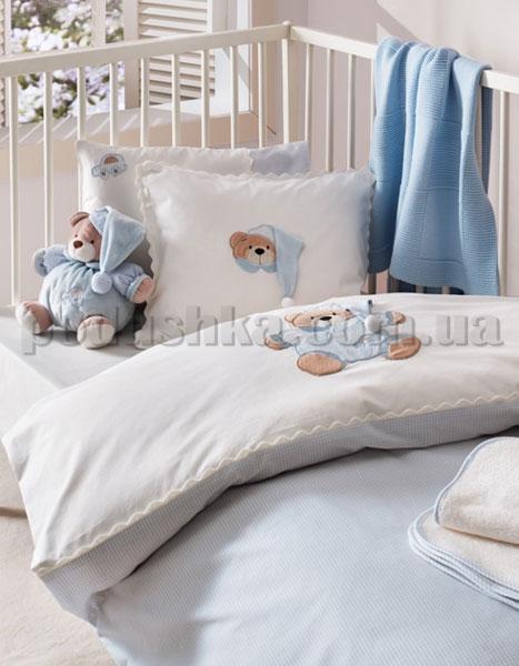 Спальный комплект в кроватку Karaca Bebek Bear голубой