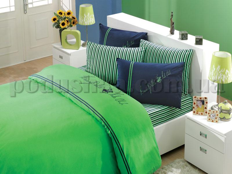 Постельное белье BHPC 201 зеленый сатин с вышивкой