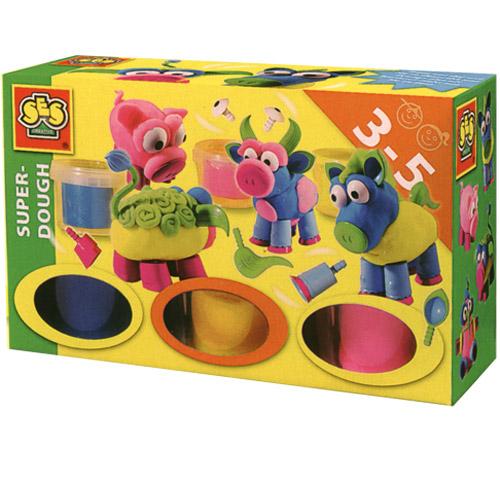 Незасыхающая масса для лепки - Веселая ферма 3 цвета, упаковка - пластиковые баночки