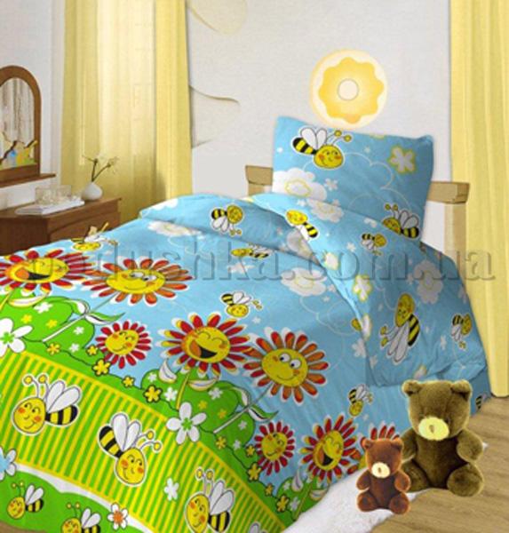 Постельное белье в кроватку Пчелки голубой