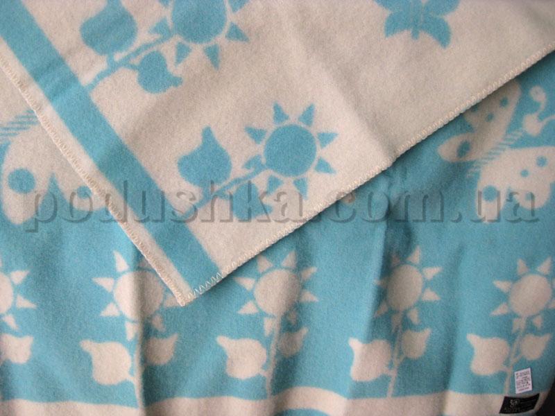 Одеяло детское Klippan Saule Цветы (бело-голубое)