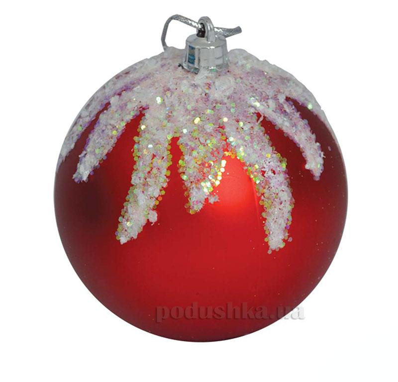 Елочный шар красный с узором Новогодько 971938
