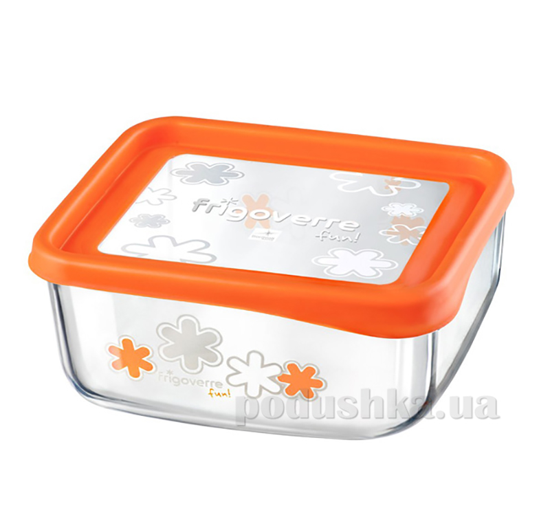 Емкость для продуктов Bormioli Quadra fun 19х19 оранжевая