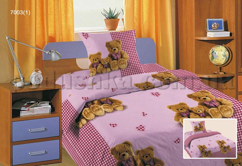 Постельное белье в кроватку Три медведя розовый ситец (с1003_70031)