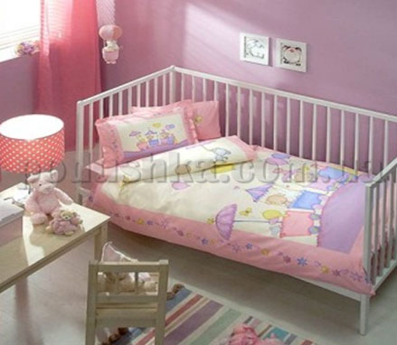 Постельное белье TAC Bebec Little train розовый