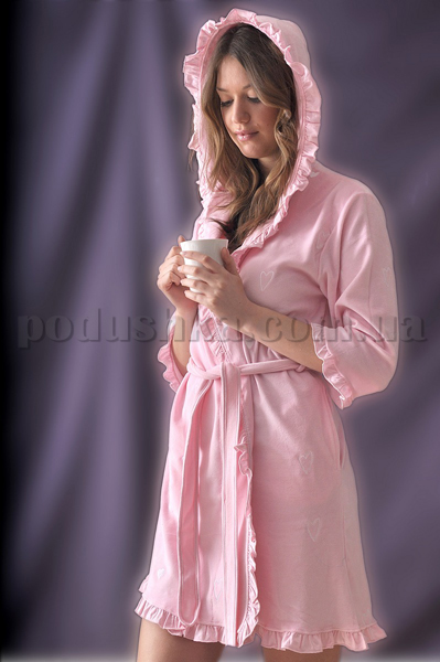 Халат женский короткий Marissabell Love pink розовый