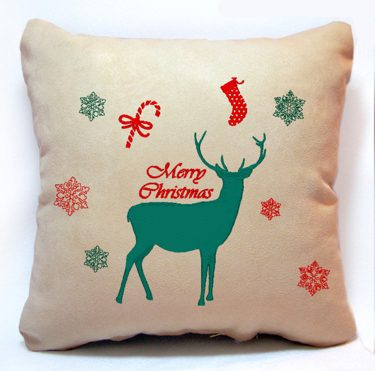 Новогодняя подушка Merry Christmas 26 Slivki бежевый