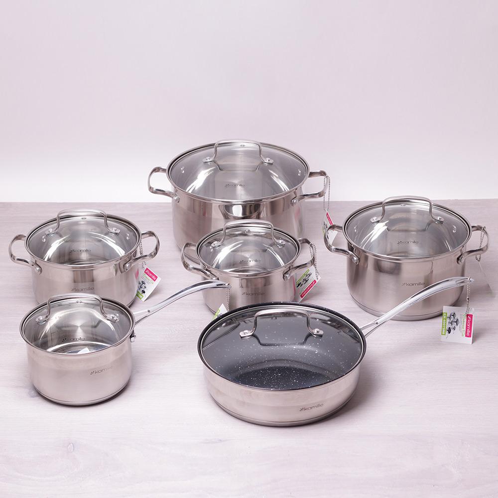 Набор посуды Kamille 12 предметов из нержавеющей стали 4007SMR