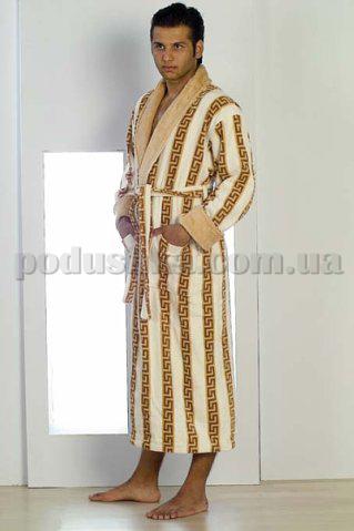 Халат мужской махровый длинный без капюшона Nusa Версаче бежевый