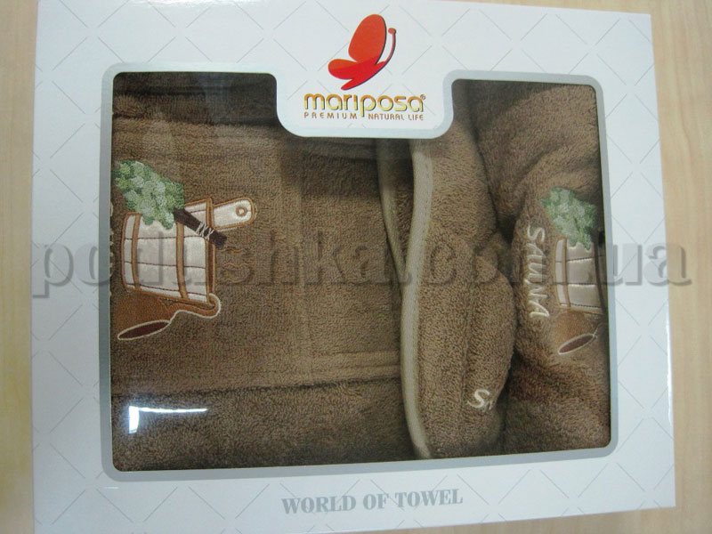 Набор для сауны мужской Mariposa коричневый
