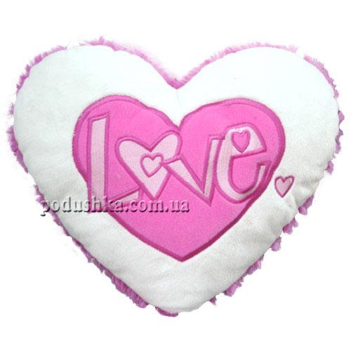 Подвесное сердечко - ЛЮБОВЬ (18 см, бело-розовое)