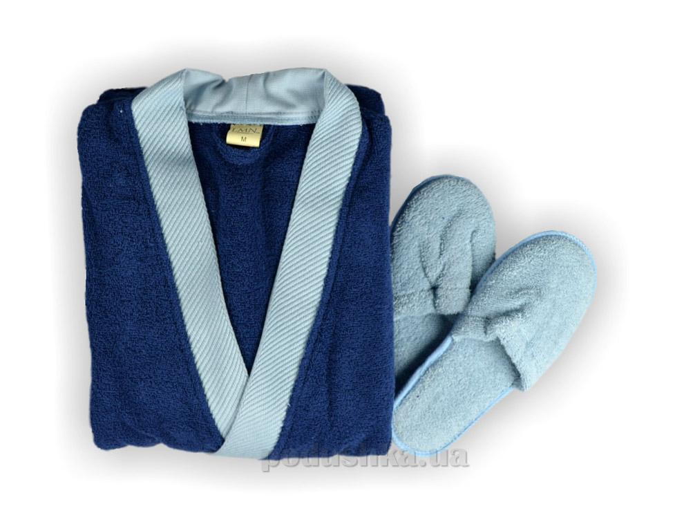 Халат мужской LMN синий с голубым с тапочками