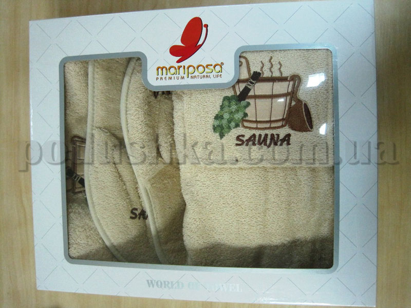 Набор для сауны мужской Mariposa бежевый