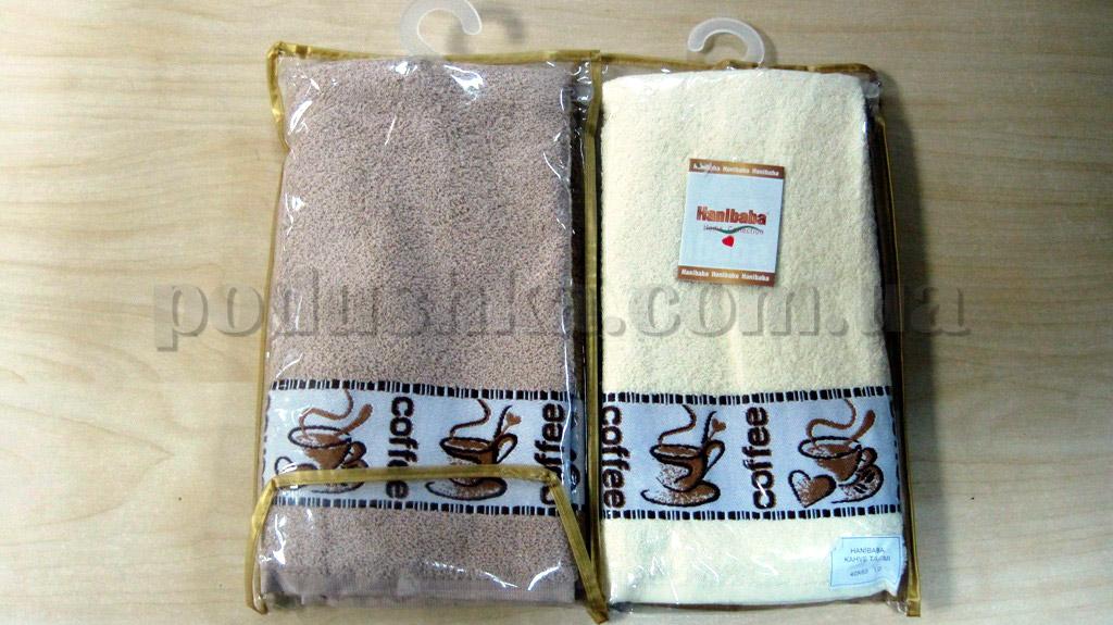 Набор махровых кухонных полотенец Hanibaba Кофе кремовое и бежевое