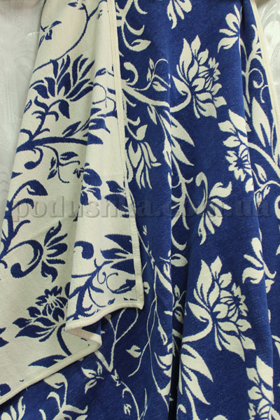 Покрывало шенилловое Klippan Saule 1811 сине-белое