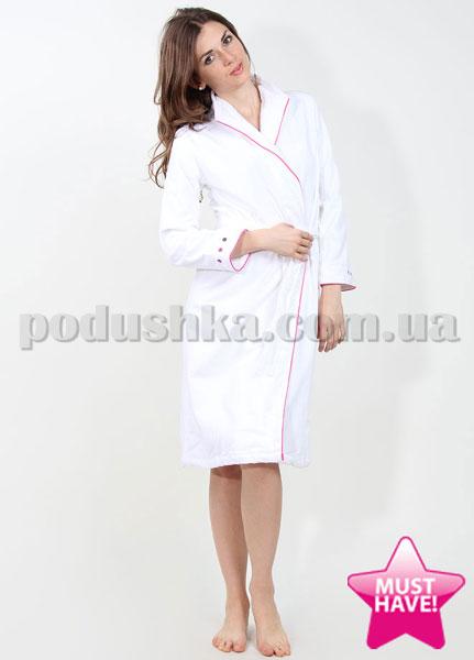 Халат женский велюровый Carre blanc белый в розовую точку