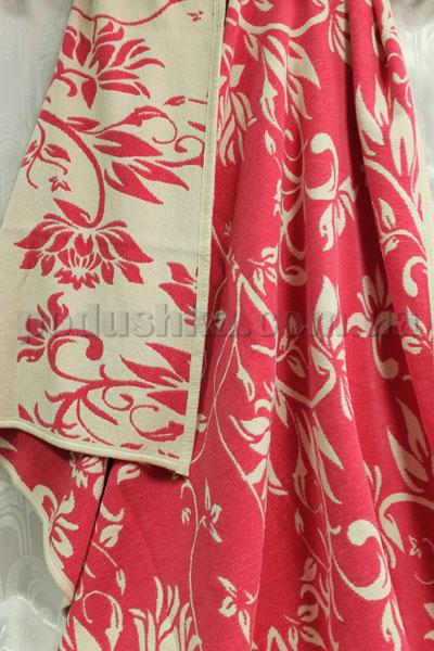 Покрывало шенилловое Klippan Saule 1811 розово-белое