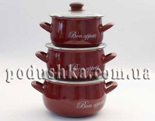 Набор посуды 3 предмета BON APPETIT (красный)