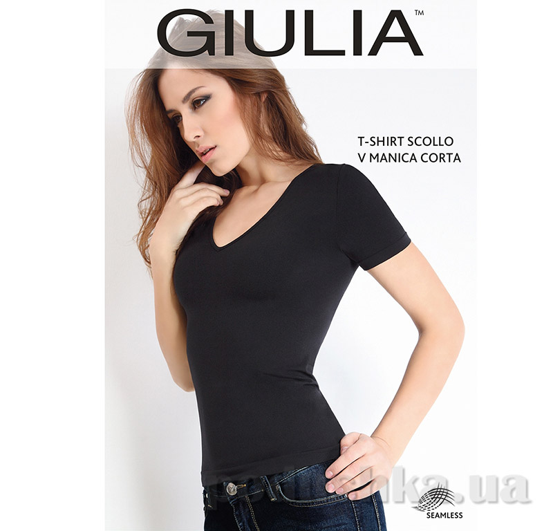 Футболка черная женская T-shirt Scollo V Manica Corta Giulia Nero
