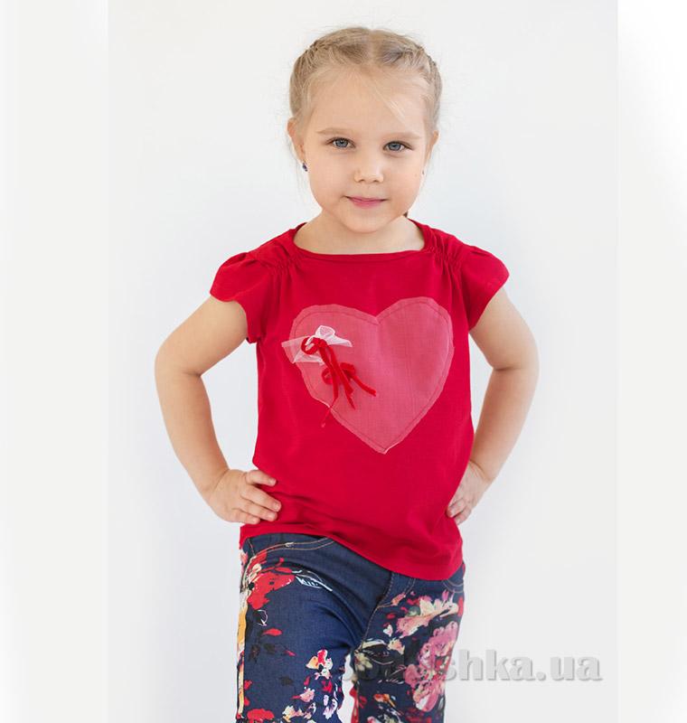 Футболка для девочки Модный Карапуз 03-00517 красная