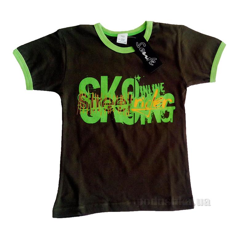 Футболка для мальчика Senti 21086СП коричневая с зеленым