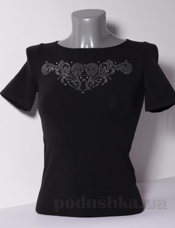 Футболка Giulia T-shirt Scollo Tondo Manica Corta Strass S-006 черная