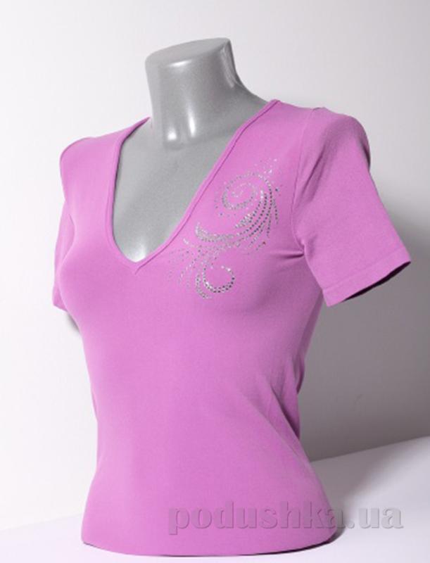 Футболка Giulia T-shirt Scollo V Manica Corta Strass S-005 сиреневая