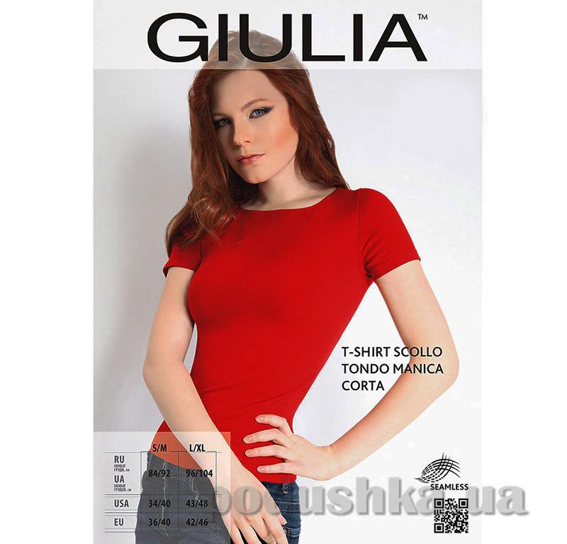 Футболка красная женская T-shirt Scollo Tondo Manica Corta Giulia Ruby