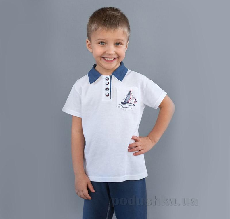 Футболка поло для мальчика Модный Карапуз 03-00508 белая