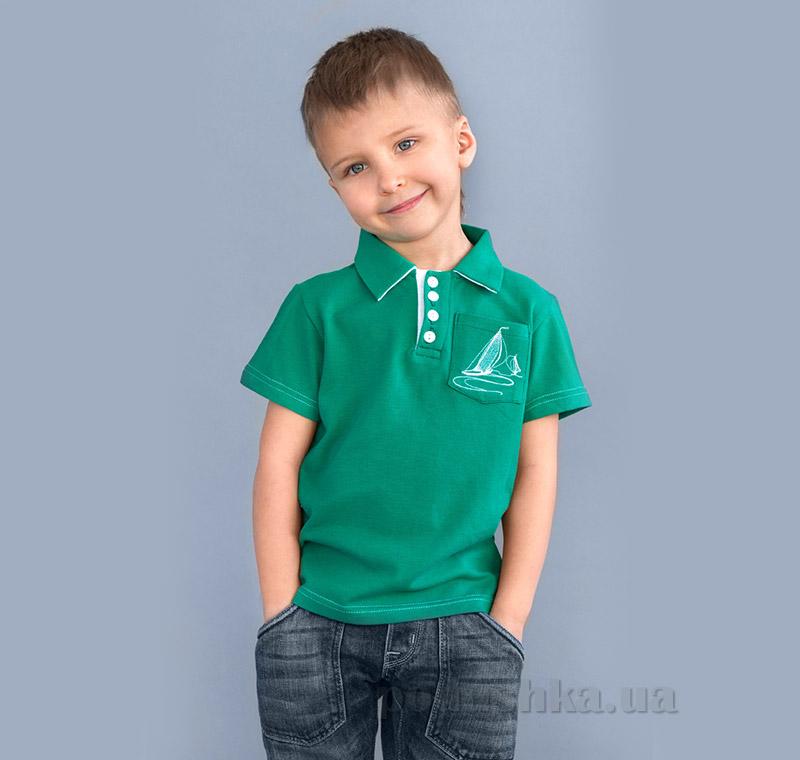 Футболка поло для мальчика Модный Карапуз 03-00508 зеленая