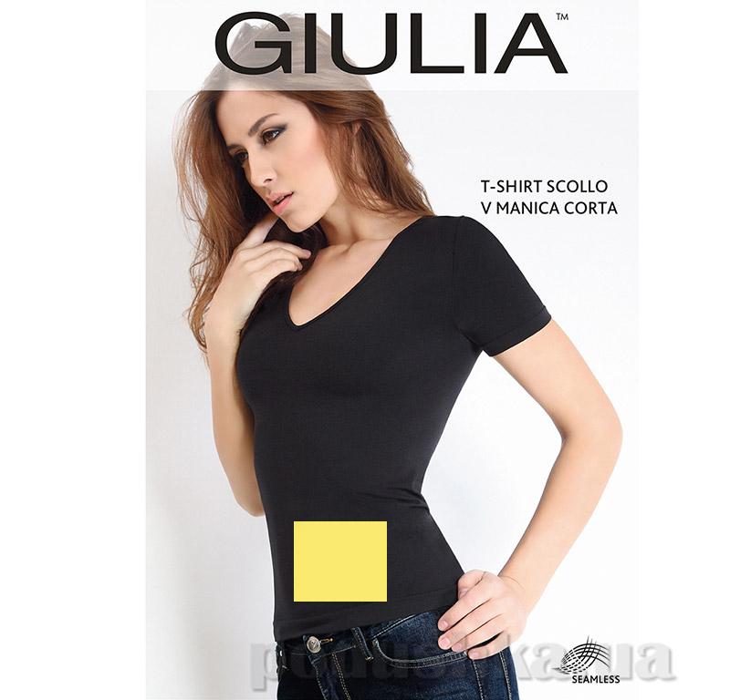 Футболка желтая женская T-shirt Scollo V Manica Corta Giulia Sunset