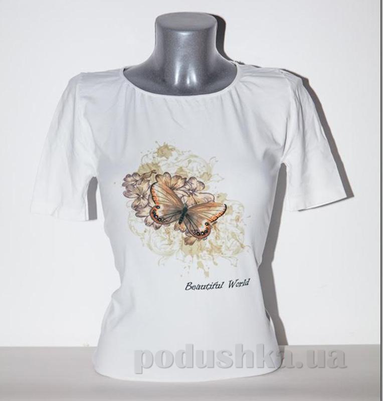 Футболка женская Giulia Бабочка-2 P0038 белая