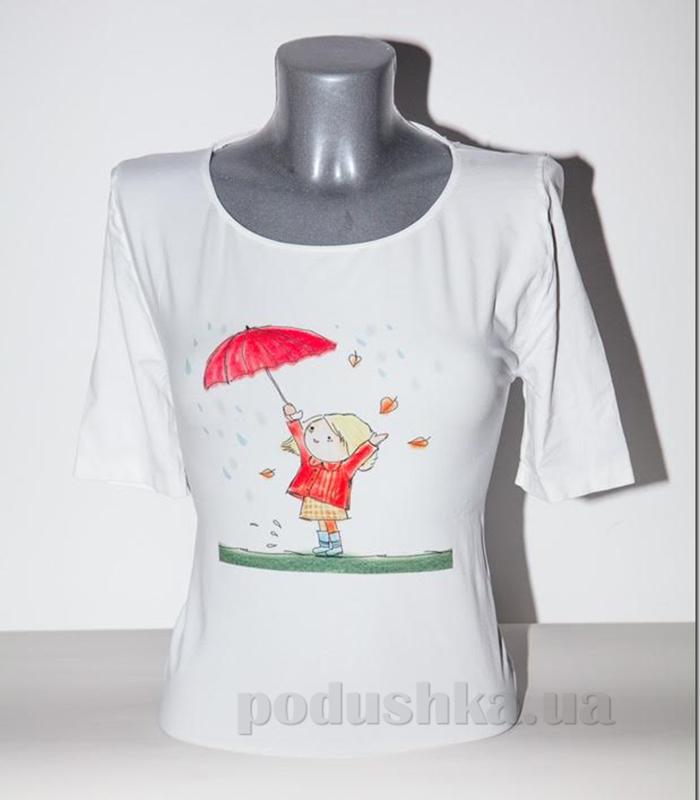 Футболка женская Giulia Кроха с зонтиком P0025 белая