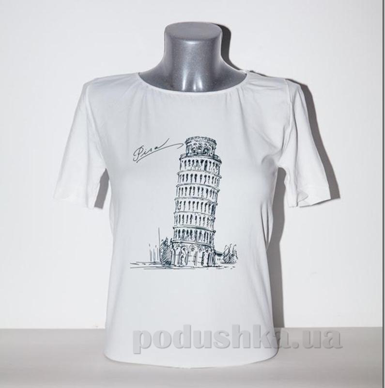 Футболка женская Giulia Пизанская башня P0016 белая