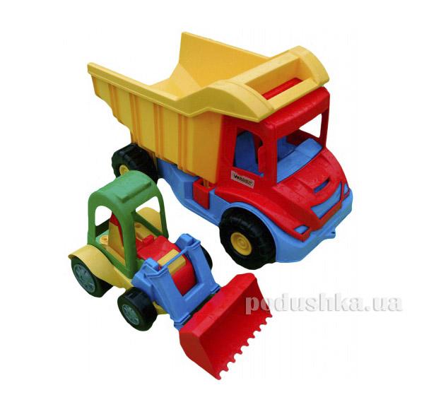 Грузовик с трактором красный-желтый Wader 39219-1   Wader