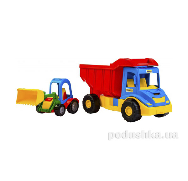 Грузовик с трактором синий-красный Wader 39219-2   Wader