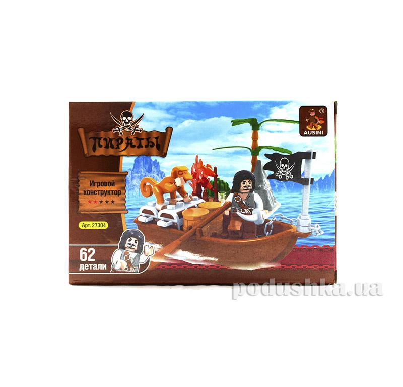 Игровой конструктор Пират и обезьянка на лодке с сундуками и бочками LEGO Ausini 27304