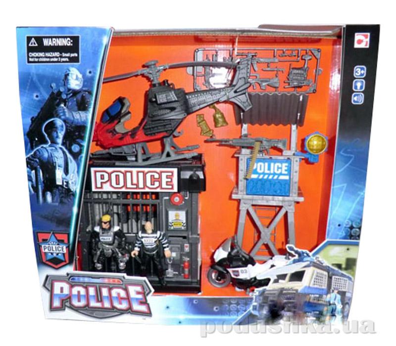 Игровой набор Полиция 2 (вертолет, мотоцикл, полицейская клетка и вышка) Chap Mei