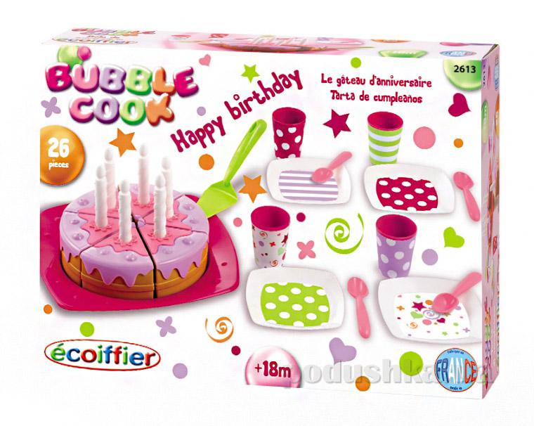 Игровой набор посуды С Днем Рождения Ecoiffier с тортом 2613