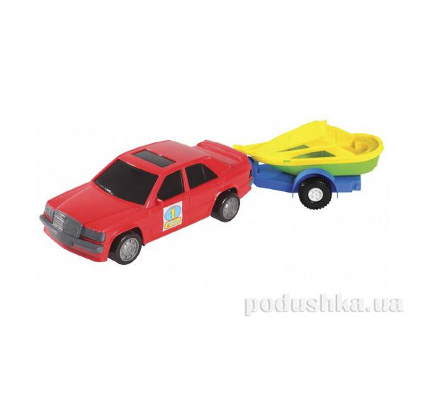 Игрушечная машинка авто-мерс красный с прицепом и лодкой Wader 39003-6   Wader