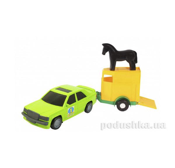 Игрушечная машинка авто-мерс зеленый с прицепом и лошадкой Wader 39003-4   Wader