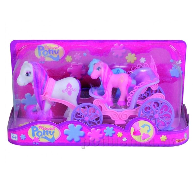 Игрушечный набор Пони с двумя малышами в карете Simba
