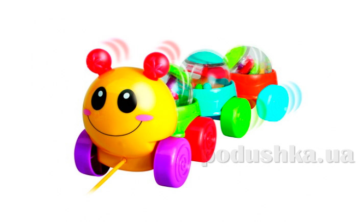 Игрушка-каталка Веселая гусеница на шнурке 61081-UN Unimax   Unimax