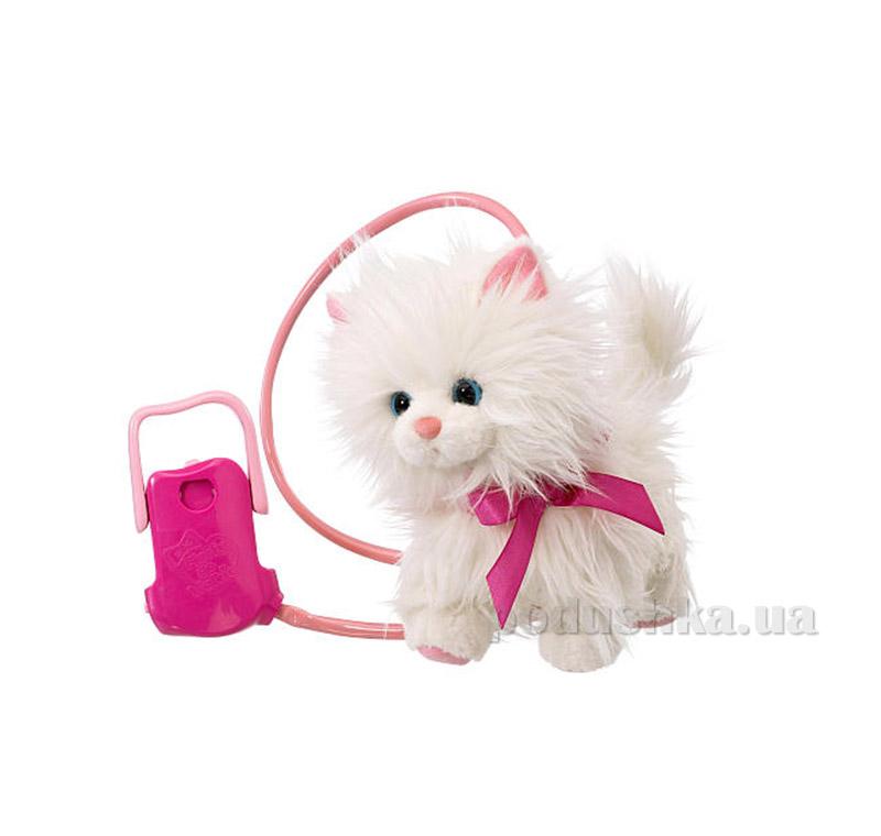 Интерактивная игрушка Пушинка на прогулке, Розовый бант и поводок